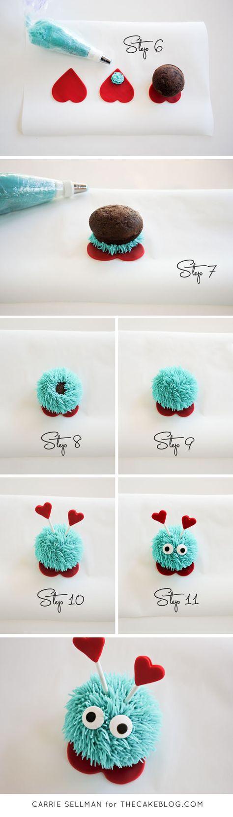Love bug cupcakes, cute #Valentines #baking