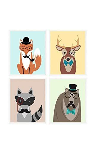 Woodland Animals Wearing Glasses Clipart Black And White Google Search Hipster Animals Deer Art Print Animal Paintings