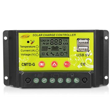 Intelligent 10a 20a 12v 24v Lcd Pwm Solar Panel Charge Controller Regulator Solar Panel Battery Solar Solar Panels