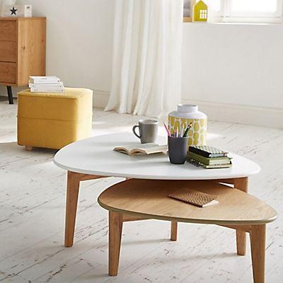 Ensemble De 2 Tables Basses Vintage Scandinave Blanche Et Chene Table Basse Triangulaire Table Basse Vintage Table Basse