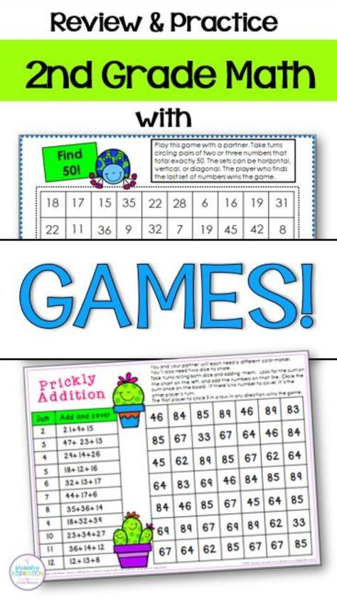 2nd Grade Year Long Math Game Bundle