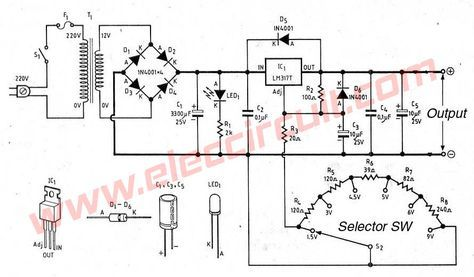 Lm317 Voltage Selector Power Supply 1 5v 3v 4 5v 5v 6v 9v In 2020 Power Supply Electronic Schematics Power Supply Circuit