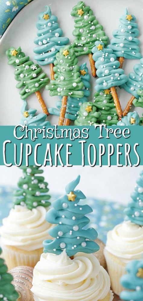 Christmas Tree Cupcake Toppers - Foodtastic Mom The little focus on the absolute most intimate party of the year Eieiei, the Xmas party is approachi Christmas Cupcake Toppers, Christmas Tree Cupcakes, Christmas Sweets, Christmas Goodies, Holiday Baking, Christmas Candy, Christmas Desserts, Christmas Baking, Holiday Treats