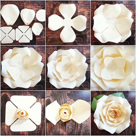 DIY Giant Paper Rose Pattern Templates and Tutorials Garden | Etsy
