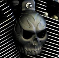 Evil Twin Horn Cover in a Textured Black Powder Coat. Also Available with LED lighted eyes.