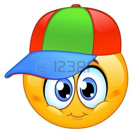 Kid emoticon wearing a baseball cap Vector
