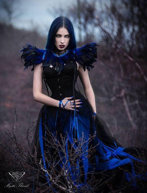 Set/2 pieces: Black lace neck corset with royal blue black | Etsy