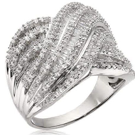 0.75 CT Round Cut Eternity Channel Set Engagement Ring Wedding Band in Sterling Silver Rhodium Plated Nickel free