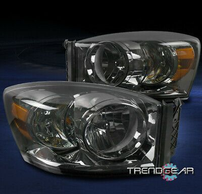 Ad Ebay 06 08 Dodge Ram 1500 06 09 2500 3500 Truck Replacement Headlight Headlamp Smoke In 2020 Replacement Headlights Dodge Ram 1500