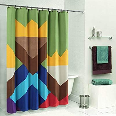 Amazon Com Ds Curtain Color Blocking Monogram Shower Curtain Waterproof Duck Polyester Fabric With Images Fabric Shower Curtains Colorful Curtains Shower Curtain Monogram