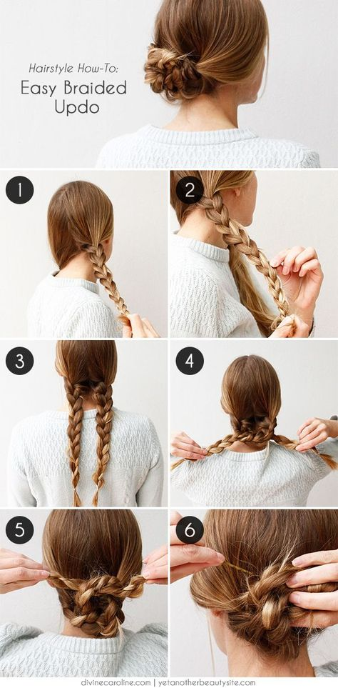 Unique braided updo for medium / long hair tutorial Unique. - Unique braided updo for medium / long hair tutorial Unique braided updo for m - Easy To Do Hairstyles, Braided Hairstyles Tutorials, Up Hairstyles, Pretty Hairstyles, Braid Tutorials, Hairstyle Ideas, American Hairstyles, Step Hairstyle, Simple Braided Hairstyles
