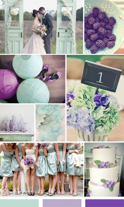 Mint and Purple Wedding Ideas....looks pretty. maybe lavender would look good too