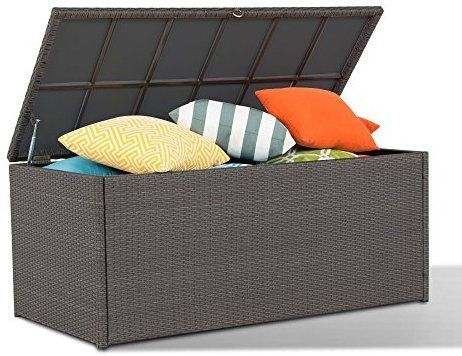 Amazon Com Outdoor Storage Container Wicker Deck Box Patio Garden Furniture With Waterproof Co Outdoor Furniture Storage Wicker Storage Boxes Wicker Deck Box