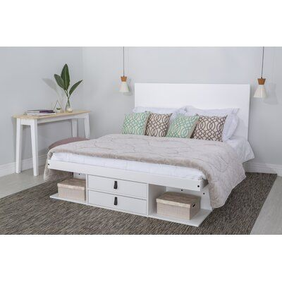Latitude Run Pharr Storage Platform Bed, Queen Size White Platform Bed With Drawers