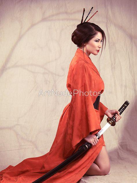 Beautiful asian woman warrior in red kimono with katana sword art photo print by ArtNudePhotos