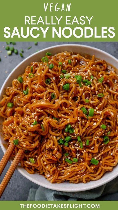 Tasty Vegetarian Recipes, Vegan Dinner Recipes, Veggie Recipes, Asian Recipes, Whole Food Recipes, Cooking Recipes, Healthy Recipes, Vegan Noodles Recipes, Vegetarian Ramen