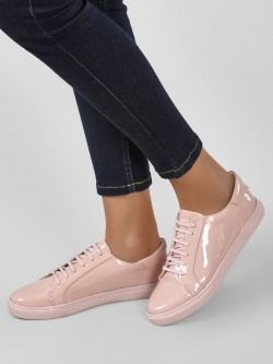 KOOVS Patent Finish Lace-Up Sneakers