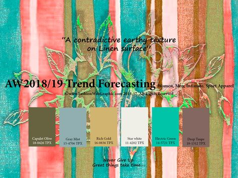 Autumn Winter 2018/2019 trend forecasting is A TREND/COLOR Guide that offer seasonal inspiration & key color direction for Women/Men's Fashon, Sport & Intimate Apparel