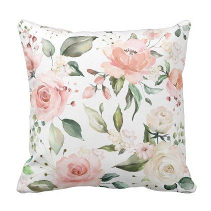 Sunny Floral Pastel Pink Watercolor Flowers Throw Pillow Decor Gifts Diy Home Living Cyo Giftidea Pastel Room Decor Vintage Throw Pillows Flower Room Decor