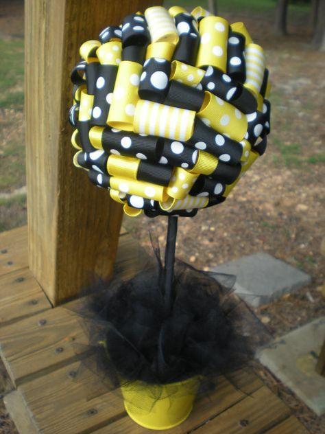 Ribbon Topiary in Yellow & Black Bumble