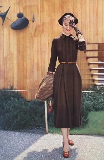 Vogue Pattern Book, October-November 1949 brown day dress hat shoes gloves fashion vintage style color photo print ad model pleated skirt sleeves Source by RetroVS fashion vintage