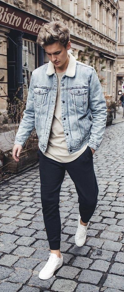 with a light wash denim shearling lined