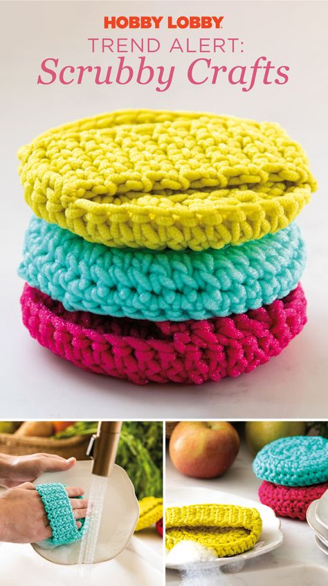 Looking for Yarn & Needle Arts projects? Visit Hobby Lobby for Scrub-Ology Yarn: Scrub Up! Crochet Kitchen, Crochet Home, Crochet Gifts, Crochet Yarn, Holiday Crochet, Beginner Crochet Projects, Crochet For Beginners, Beginner Crochet Patterns, Scrubbies Crochet Pattern