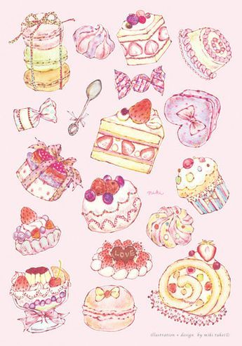 New 四季の女の子シリーズです 食品アート お菓子イラスト スイーツ イラスト