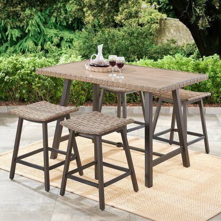 patio wicker bar height dining set