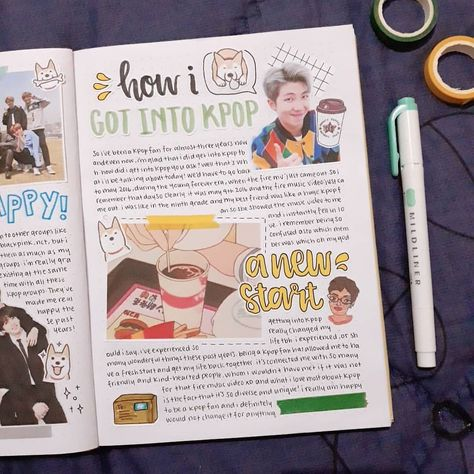 finally finished my collab with @dailystae 😂 sorry it took so long isabel! we decided to make a spread about how we got into kpop so :)) and pls excuse my handwriting, i have a sore on my right hand so it was kinda hard to write 😅 i hope you all still like this spread tho 💞
