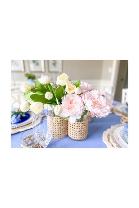 #periwinkle #spring #homedecor #lightandairy #fresh #pretty #tablescape #bluetablescape #bunny #easter #tablelinens #bluedepressionglass #chinoiserie #blueandwhite #blueandpink #bamboofurniture #bamboodecor #gingerjar #grandmillenial #rattan #wicker