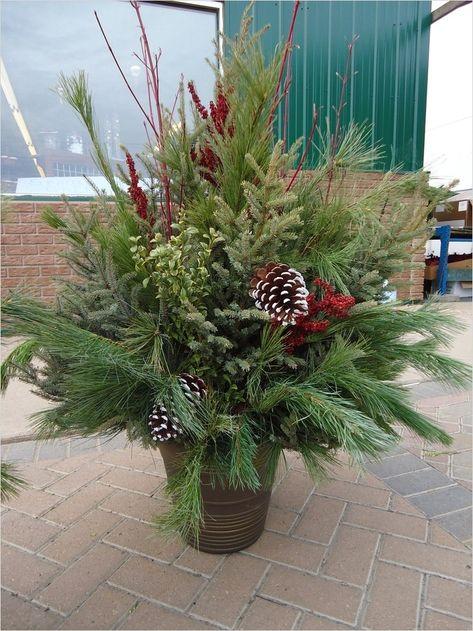 42 Beautiful Christmas Outdoor Pot Decorations Ideas 17 Outdoor Christmas Planter Outdoor Holiday Decorating 6