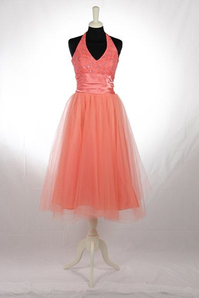 53f8d54d59 Abito americano anni '50 vintage di tulle e paillettes rosa pesca ...