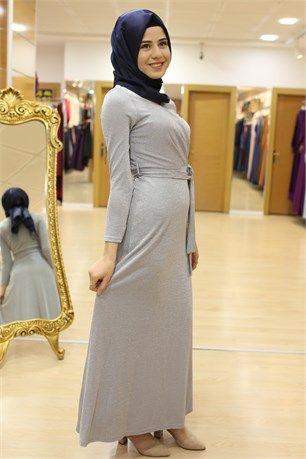 Stilife 4005 Kruvaze Yaka Simli Elbise Gri Elbise Gri Model