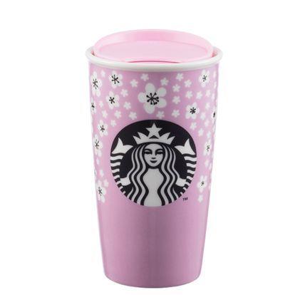 Starbucks スターバックス タンブラー スタバ 海外限定 さくら 花柄 デザイン 陶器タンブラー セラミックカップ スタバ タンブラー 花柄デザイン