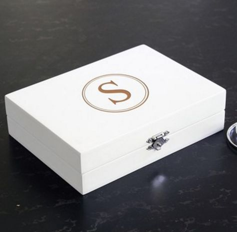 Cathy's Concepts Monogram Wooden Jewelry Box - White