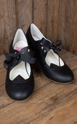 Pin up Couture Pumps Cuben Heel aus veganen Schwarzen Leder