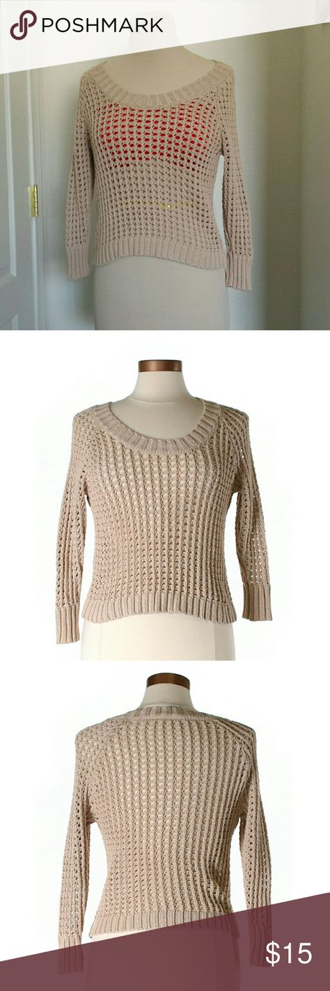 American Rag Tan Open Knit Sweater Another one that looks great with bathing suits, #bralettes and #bandeaus!  Size L but modeled on a medium mannequin, so definitely not #oversized, unless you're a xs or s, but still very #comfortable #cute and #stretchy!  Chest approx. 30in Length approx. 17in M3  #beach #bonfire #loose #airy #openknit #coverup #comfy #spring #summer #americanrag #beige #tan #cream #longsleeve #layers #fall #fallfashion #winter #anytime #classic #neutral…