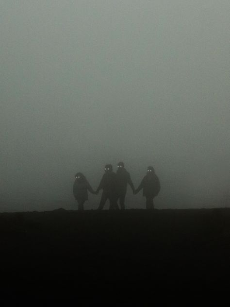 """I took a picture of some people walking in the fog and put glowing eyes on them, turning a normal photo into a """"spooky"""" scene. Creepy Images, Creepy Pictures, Foto Fantasy, Dark Fantasy, Whats Wallpaper, Inspiration Artistique, Shadow People, Arte Obscura, Dark Paradise"""