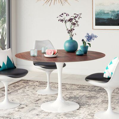 Corrigan Studio Angelica Wood Top Dining Table Size 36 Round Base Color White Gloss Top Color Ameri Round Dining Table Saarinen Dining Table Dining Table