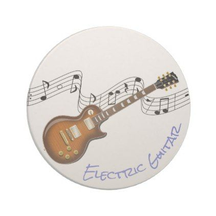 ELECTRIC GUITAR PATTERN DRINKS COASTER MAT CORK SQUARE SET X4 Music Rock