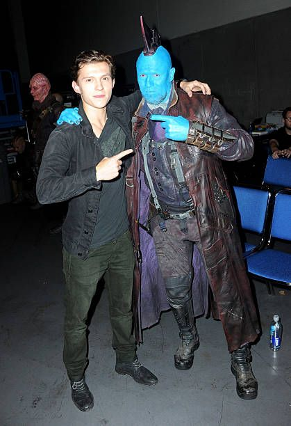 Actors Tom Holland and Michael Rooker attend the Marvel Studios...