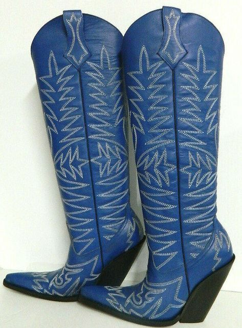 Men size10 in stock aster blue leather cowboy boots 22¨tall and 5¨ extreme heels #MiguelCustomCowboyboots #Western #Casual