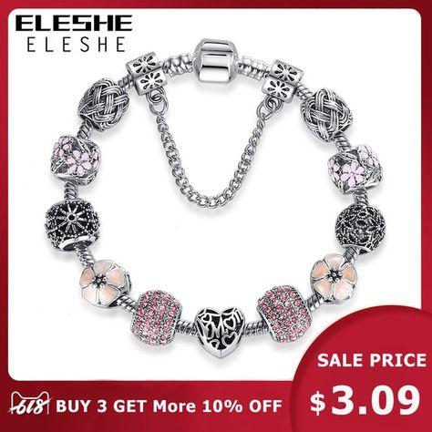 ELESHE Original Pink Enamel Flower Silver Bracelet
