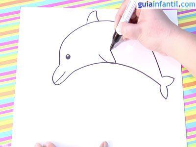 Cómo Hacer Paso A Paso Un Dibujo De Un Delfín Delfines Aprender A Dibujar Animales Bordado Ruso