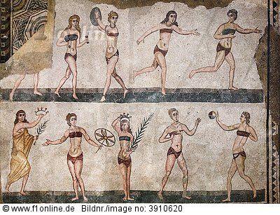 The History of the Bikini - the 'Bikini Girls' mosaic: fashion of antiquity, the bikini goes a long way back.