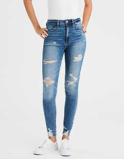 Women Blue Jeans Skinny Faded Denim Pants Stretch High Waist Slim Pencil Trouser