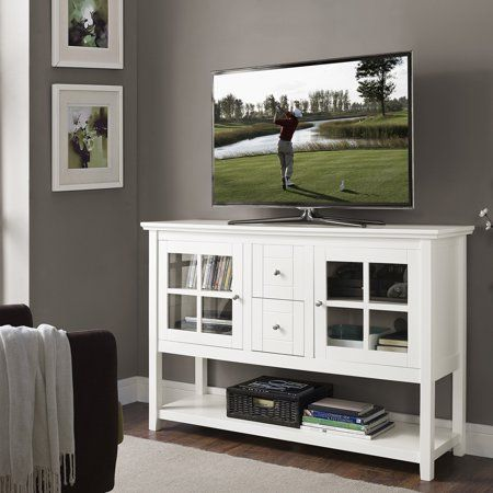 Walker Edison 52 Wood Console Table Buffet Tv Stand For Tv S Up To 55 White Walmart Com Tv Stand Wood Wood Console Table Living Room Wood