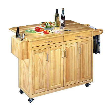 Home Styles Wood Top Kitchen Island Cart Portable Tops