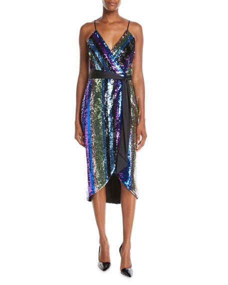 49b90b7239a65 Aidan Mattox Sequin Stripe Sleeveless Wrap Dress | M.E. 2019 DRESS ...